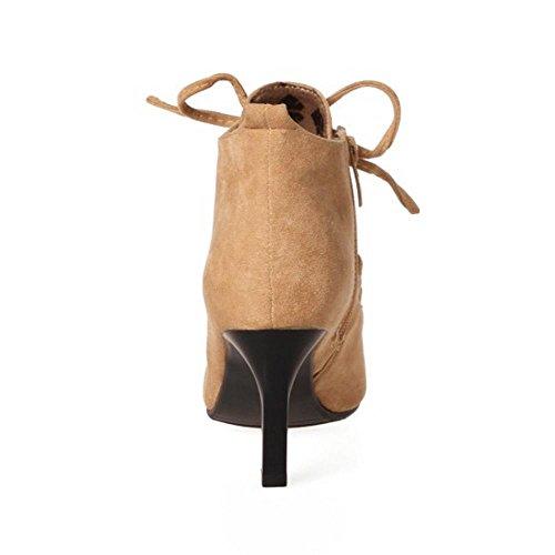 Schuhe TAOFFEN Elfenbein Frühling Herbst Stiefeletten Damenmode 1343 Stiletto Pumps xCrFt4C