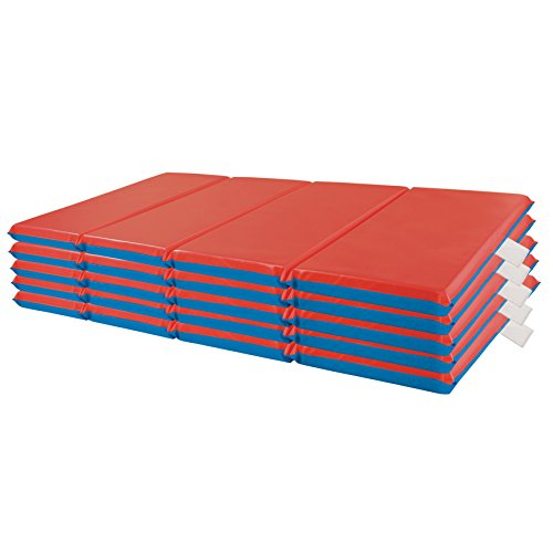 "ECR4Kids Premium 4-Fold Daycare Rest Mat, Blue and Red, 2"" Thick (5-Pack)"