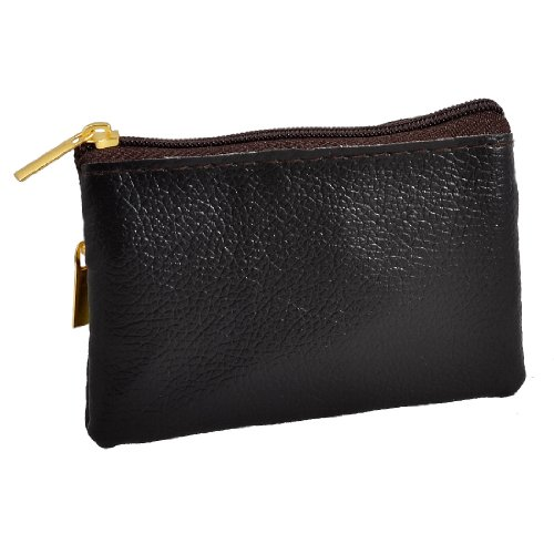 Black Lychee Pattern 2 Compartment Coin Change Purse Wallet Pouch Case