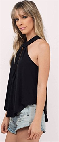 Moda Sin Mangas Cuello Hálter Pliegues Plisado de Vuelo Aberturas Abertura Tank Camiseta de Tirantes Camisola Cami Top Negro Negro