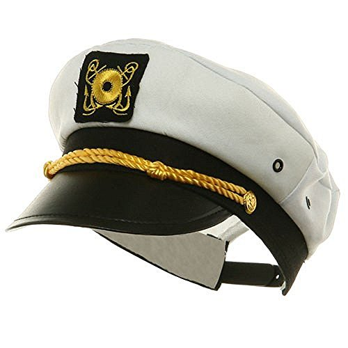 Marketworldcup- Yacht Captain Hat Costume Adult Adjustable White Cap Sailor Gilligans Island