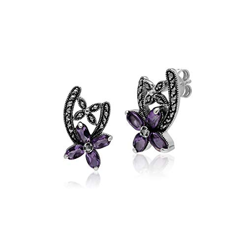 Gemondo 925 Sterling Silver Marcasite & Amethyst Flora Stud Earrings