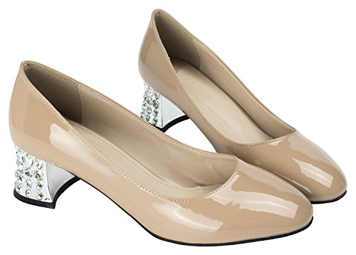 AnnaKastle Womens Patent Classic Pumps with Crystal Heel Dress Shoes Nudepink IbooEkqtiB