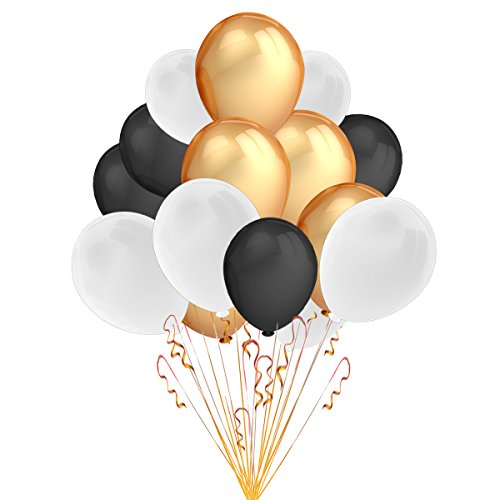 Party Decorations Balloons,100 Pack 12 '' Ultra Thickness Latex Balloons (Gold and White and Black Color)