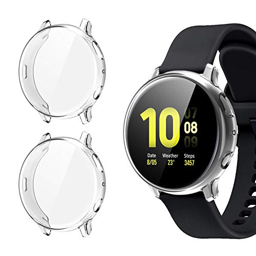 [2 Pack] Case for Samsung Galaxy Watch Active 2 44mm, All-Around TPU Anti-Scratch Flexible Screen Protector Case Soft Protective Bumper Cover for Samsung Galaxy Watch Active 2. Clear (44mm) (Case Galaxy 2)