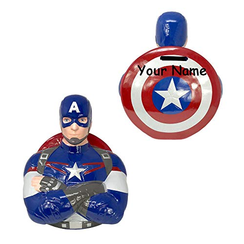 Personalized Marvel Comic Captain America Avengers Age of Ultron Ceramic Coin Bank Money Bank with Custom Name
