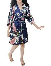 zhxinashu Kids Robe Satin Silk Bathrobe Girl Pajamas Clothing