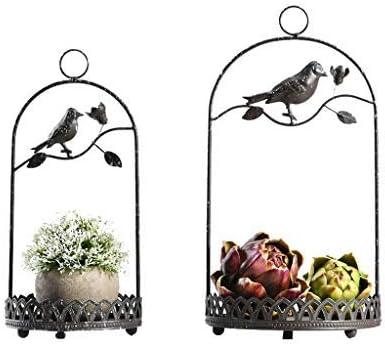 ZHAS Colgar Cesta de Flores, Jaula de pájaros Decoración Soporte de Hierro Estante de Almacenamiento de Escritorio Soporte de Plantas Plantas Artificiales Bandeja Redonda para Flores y suculentas