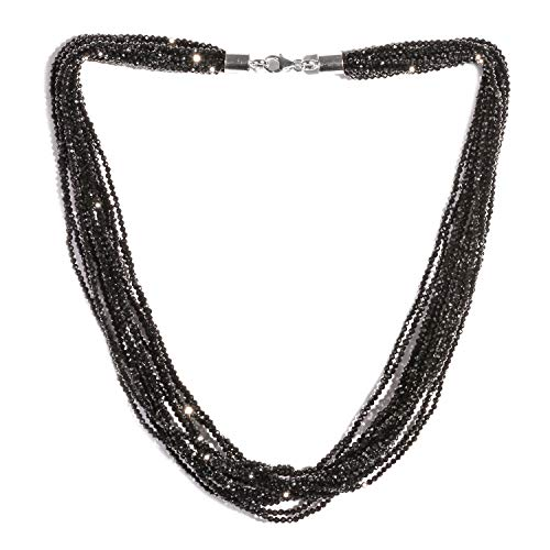 Multi Strand Necklace Black Spinel 925 Sterling Silver Jewelry for Women Size 18
