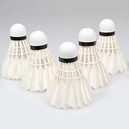 5Pcs Juego de Entrenamiento Deportivo White Duck Feather Shuttlecocks Birdies Badminton Ball Lovelysunshiny