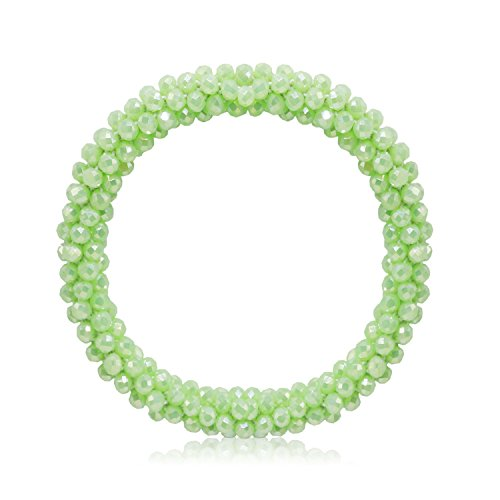 Gemstone Quartz Wrist Watch - T-Doreen Stretch Bracelet for Women Handmade Glass Beaded Bracelet Bangle (Mint Green)