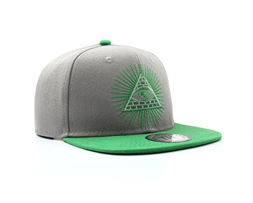 (True Heads Gray/Green Illuminati Snapback Baseball Cap )