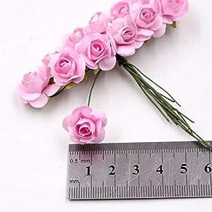 12 Pieces/Lot Artificial Flower Mini Cute Paper Rose Handmade For Wedding Decoration DIY Wreath Gift Scrapbooking Craft Fake Flower 2