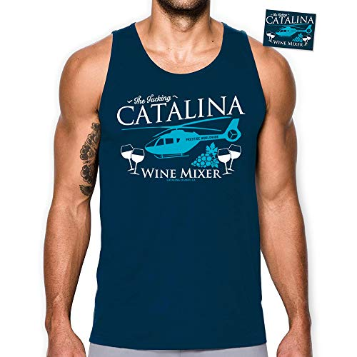 - Daft Threads ~ The Fing Catalina Wine Mixer Tank Top Shirt Brothers Step with Sticker (Navy Large)