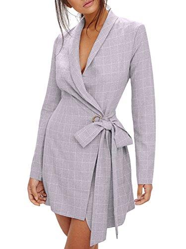 D Jill Women's Casual Work Office Open Front Lapel Long Blazer Jacket with Belt -