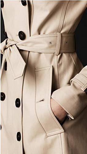 d'automne boutonnage Slim Vintage sans Ceinture à Kaki survêtement revers Fit veste manteau Slim Business de élégant Trench double de Fashion manches printemps Inclus Classics manteau Young a0gPt