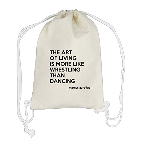Wrestling Than Dancing (Marcus Aurelius) Cotton Canvas Backpack Drawstring Bag by Style in Print