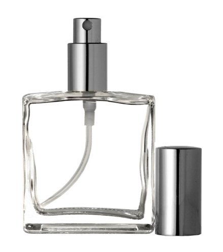 Riverrun Large Perfume Cologne Atomizer Empty Refillable Glass Bottle Fine Mist Silver Sprayer 3.4 oz 100ml 1 Bottle