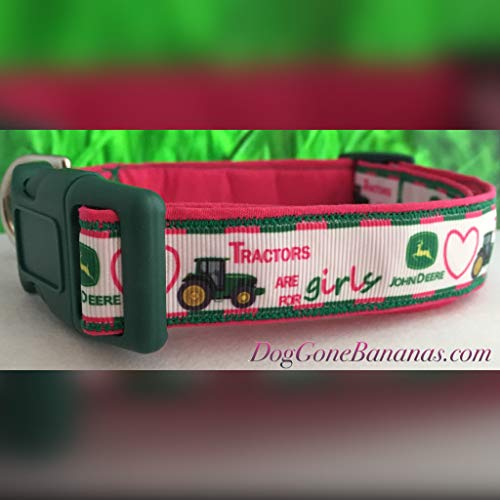 John Deere 'Tractors are for Girls' Dog Collar with Leash Option