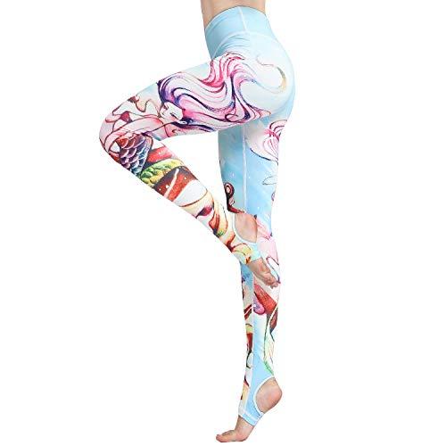 Witkey Women Yoga Pants Printed Over The Heel Stirrup Yoga Leggings High Waist Power Flex Capris Leggings for Fitness Running