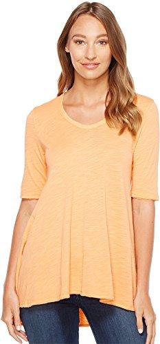 Mod-o-doc Women's Slub Jersey Elbow Sleeve Swingy Tunic Mandarin Blouse