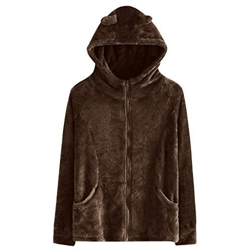 iHHAPY Women Faux Fur Jacket Plush Coat Hooded Outerwear Fashion Solid Winter Jacket Warm Zipper Coats Long Sleeve