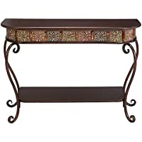 Wood Table Top Metal Console Table - Dark Merlot