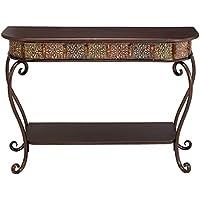 Wood Table Top Metal Console Table - Dark Merlot
