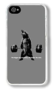 Bear Lifting Weights Quote Custom iPhone 4S Case Back Cover, Snap-on Shell Case Polycarbonate PC Plastic Hard Case Transparent