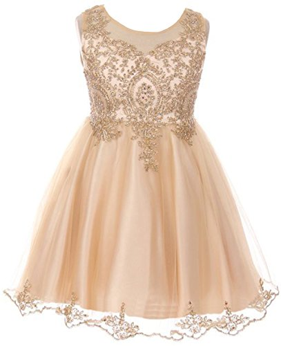 Big Girls' Dress Sparkle Rhinestones Pageant Wedding Flower Girl Dress Champagne Size 12 (M10BK49)