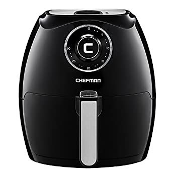 Image of Chefman 5.5 Liter Air Fryer w/ 30 Minute Timer, Auto Shut Off & Dishwasher Safe Basket, Extra Large Family Size Oil Free Airfryer, Black Home and Kitchen