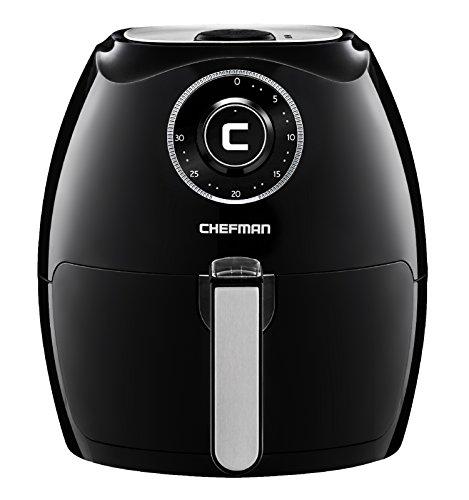 Chefman 5.5 Liter Air Fryer w/ 30 Minute Timer, Auto Shut Off & Dishwasher Safe Basket, Extra Large Family Size Oil Free Airfryer, Black