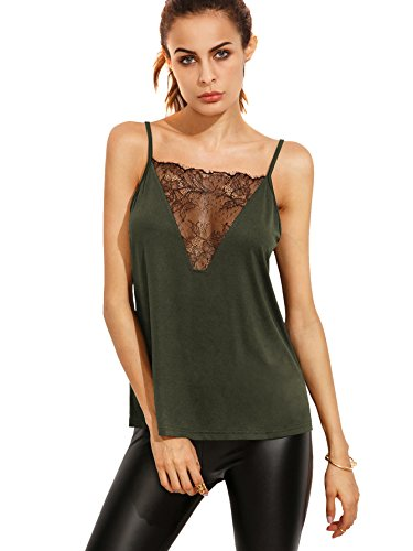 Romwe Women's Lace Front Vest Shirt Backless Sexy Tank Top Blouse Green - Lacey Cami