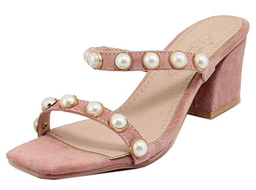 Perles Ouvert Rose on Spécial Slip Mules Easemax Femme Bout Rwn4qpEU