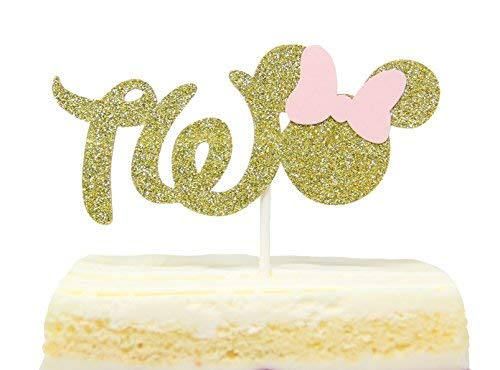 Gold And Pink Glitter Minnie Mouse Inspired Cake Topper for Two Years Old Birthday Best Seller]()
