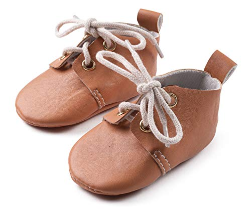 "Silky Toes Baby Girl and Boy Pre- Walker Dress Shoes (Size 2 - up to 4.25"", Oxford - Camel)"