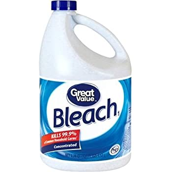 Great Value Bleach, 121 Fl Oz Kills 99.9% of Common Household Germs and 33% More Concentrated by Great Value