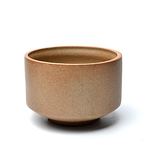 Bowl 10 Rough (COOLSKY Round Ceramic Classical Rough Pottery Succulent/Bonsai Planter Flower Pot Plants Display Bowl Home Decor,Brown 4.3 inch with A Garden Tool Set)