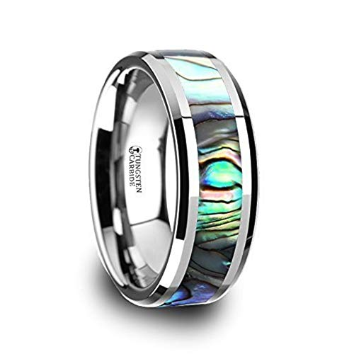 Tungsten Mens Wedding Band with Mother of Pearl Inlay 8mm Mens Ring Tungsten Carbide Ring