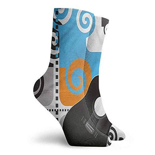 Novelty Socks for Men and Women Music Guitar on Abstract Backdrop Hiking Walking Socks
