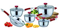 Pearington Stainless Steel Cookware Set, Red