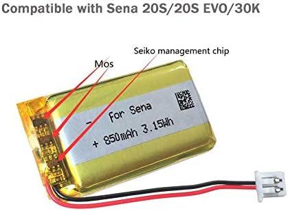 Plug and Play AOLIKES 3.7v 850mAh Replacement Battery for Sena 20S 30K Motorcycle Bluetooth Headset Helmet Intercom