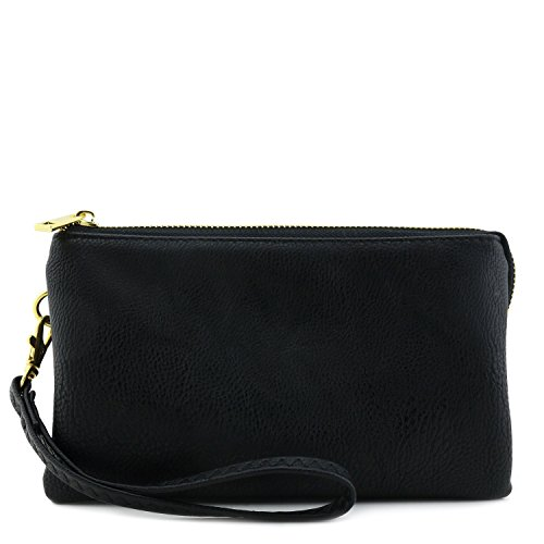 Faux Leather Wristlet Crossbody Black Soft Bag 1ZnPYZx