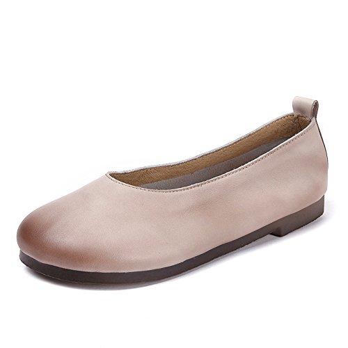 Zapatos de Mujer Transpirables Zapatos Casuales pies Femeninos Boca Plana Abuela Zapatos Beige
