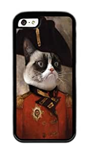 Apple Iphone 5C Case,WENJORS Awesome Angry cat Grumpy General Cat Soft Case Protective Shell Cell Phone Cover For Apple Iphone 5C - TPU Black