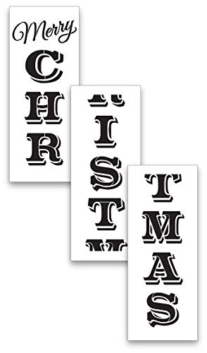 Large Christmas Stencils For Wood.X Large 72 Merry Christmas Stencil For Painting On Wood Reusable Ideal For Diy Crafting Tall Vertical Holiday Seasonal Porch Signs Or Rustic