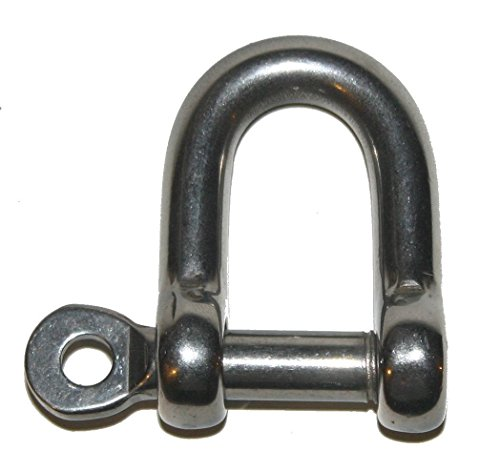 2 Screws Piece Eye - Nautos Forged D Shackle with Captive Screw Eye PIN - Stainless Steel 316 - Set of 2 Pieces (5MM - 3/16