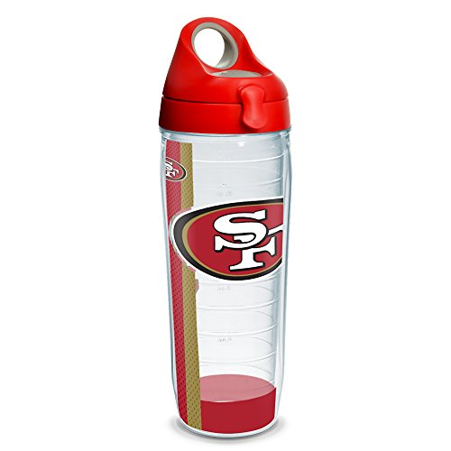 San Francisco 49ers Stripe (Tervis NFL San Francisco 49ers Stripe 24oz Clear Water Bottle with Red with Gray Lid)