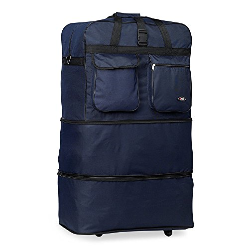 eight24hours-30-l-expandable-rolling-wheeled-duffel-bag-spinner-suitcase-duffle-bag-luggage-blue