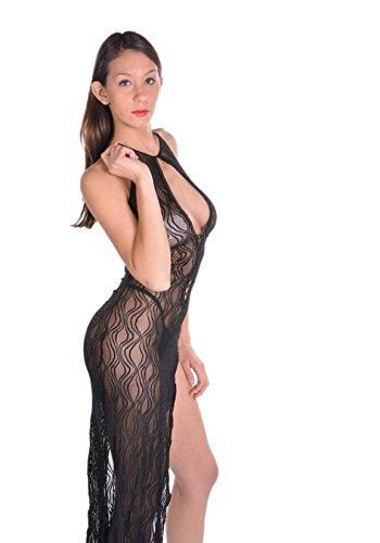 Swirl Lace Long Dress (Black;One Size)
